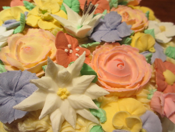 Close up of sugar flowers